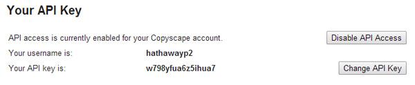 Copyscape API Key
