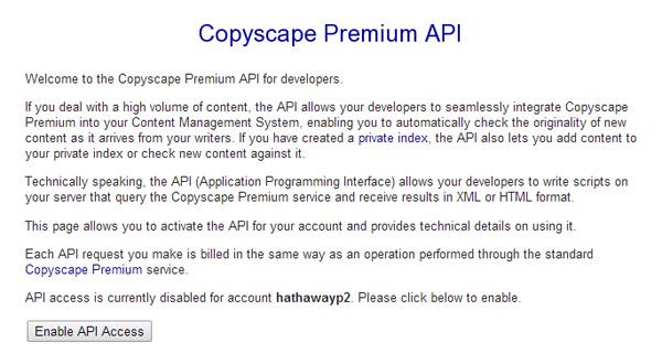Copyscape Premium API