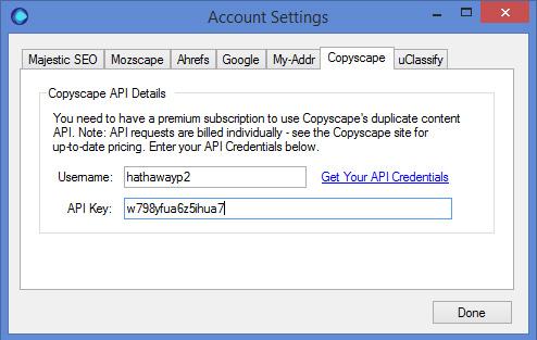 Copyscape Settings