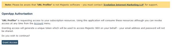 Majestic SEO Grant Access