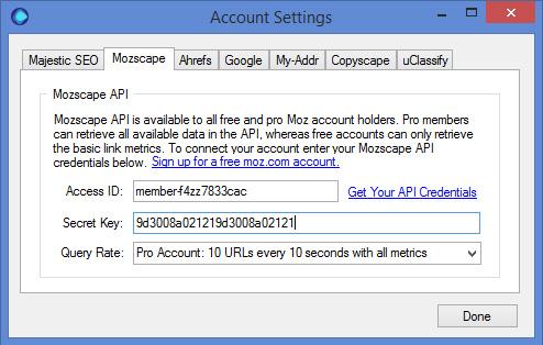 Mozscape API Settings