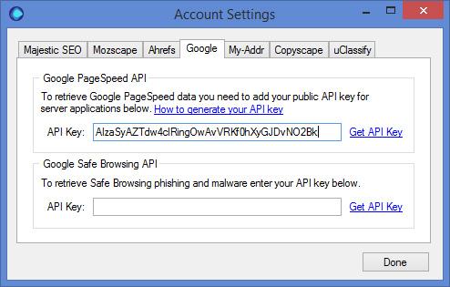 Google Pagespeed API Key