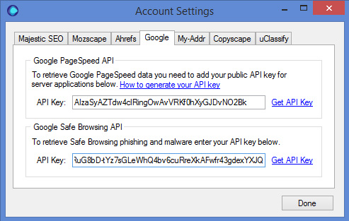 Google Safe Browsing API Key