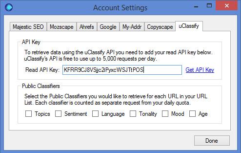 uClassify API Key