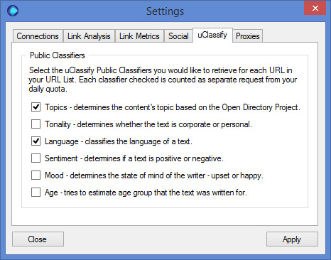 uClassify Settings