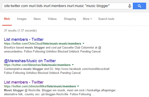 Google Advanced Query - Music