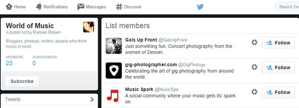 Twitter Music List