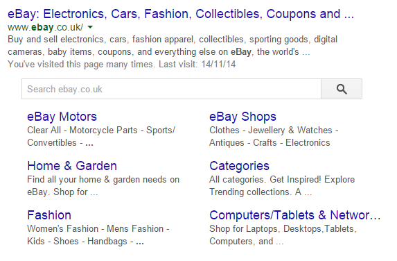 Ebay Site Search Result