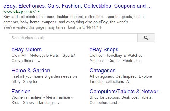 Ebay Site Search Result