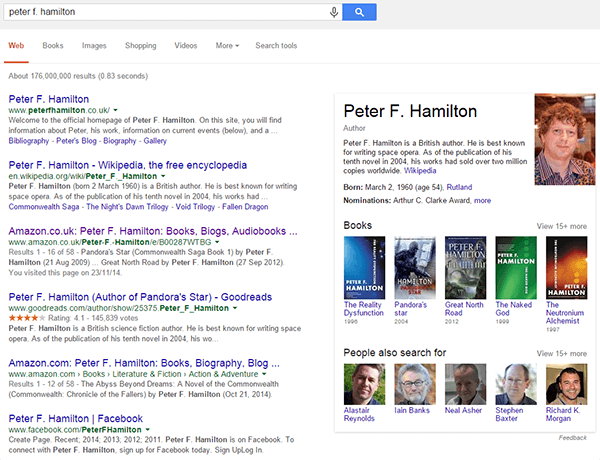 Peter F. Hamilton Knowledge Graph Result