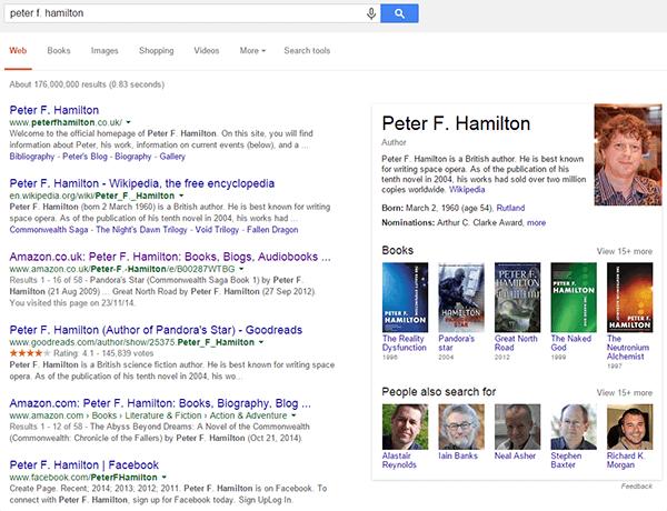 Peter F. Hamilton Knowledge Graph Result