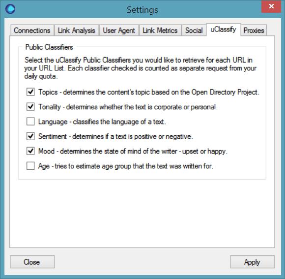 uClassify Options