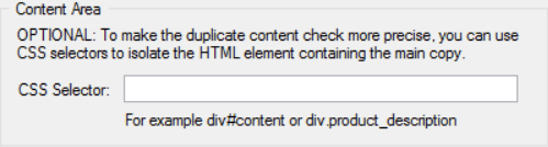Content Area Selector