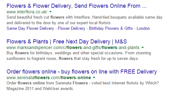 Online Flowers Search Results