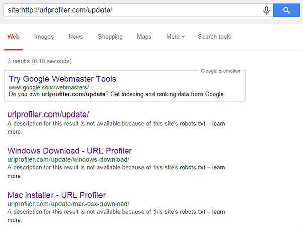 Results not in SERPs