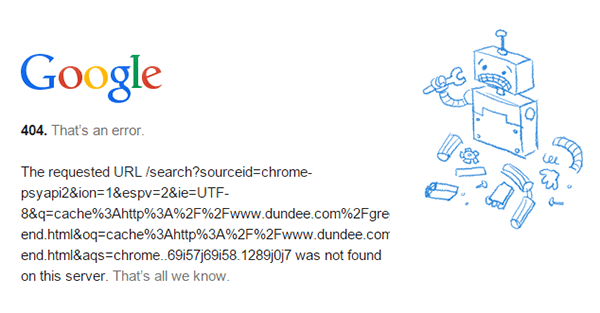 Cache 404 Error