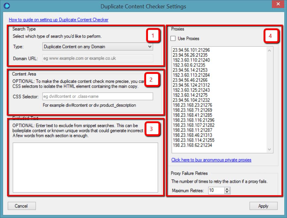 Duplicate content settings panel
