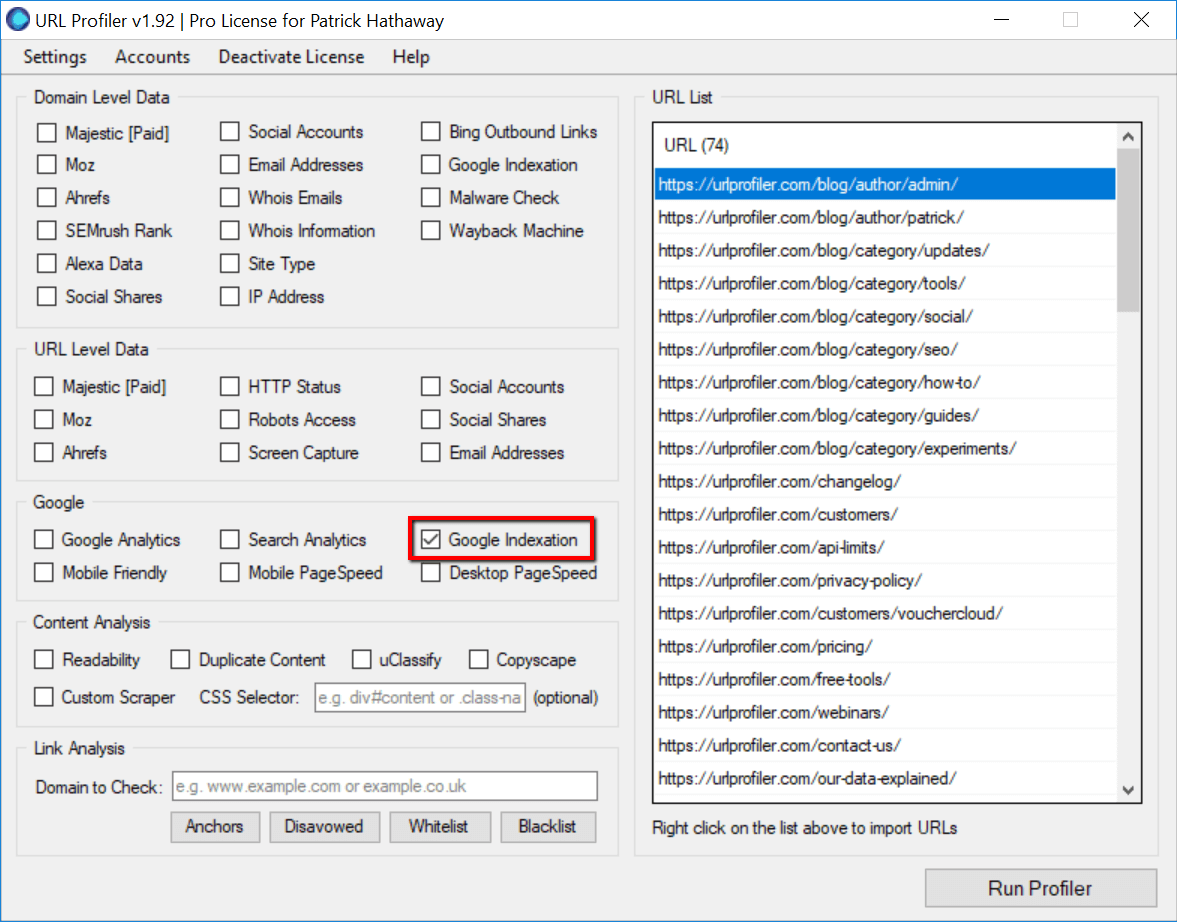 How To Use The Google Indexation Checker - URL Profiler