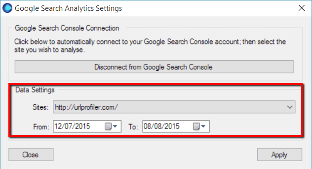 Google Search Console Data Settings