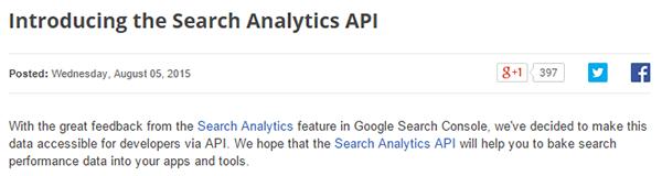 Google Search Analytics API | ProgrammableWeb