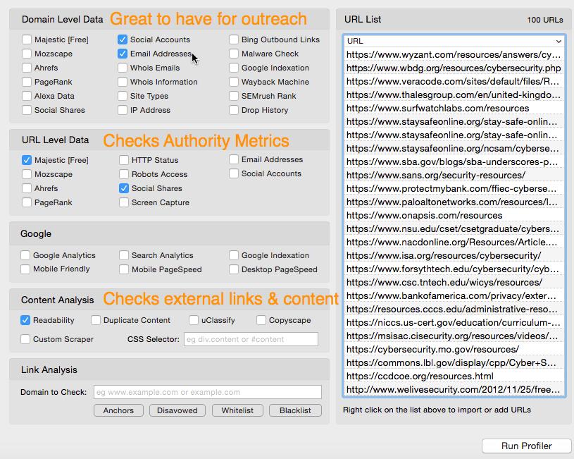 URL Profiler Setup