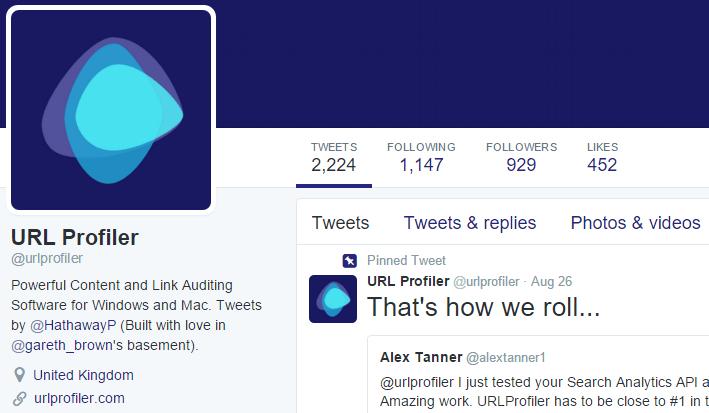 URL Profiler Twitter Page