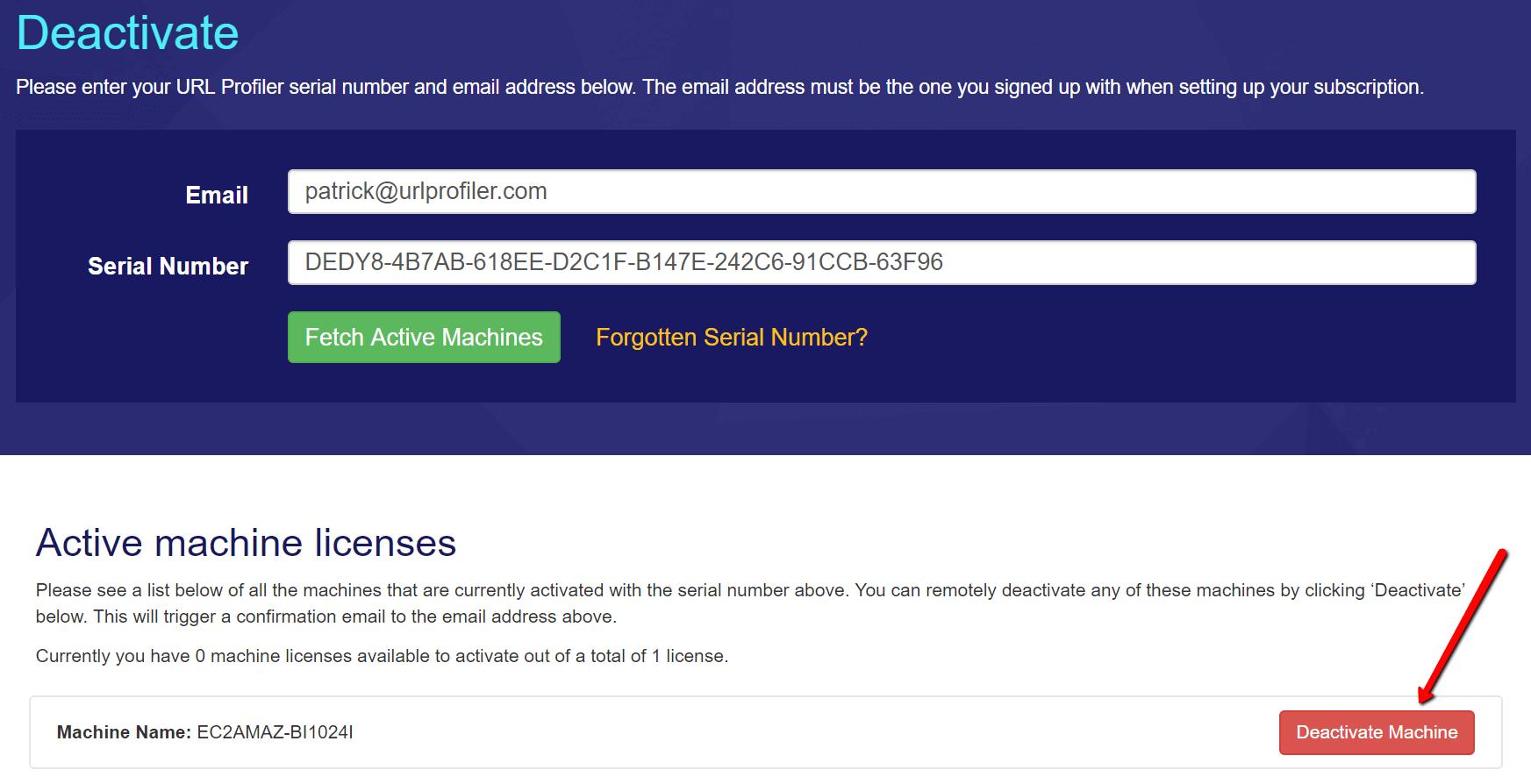 Deactivate URL Profiler license